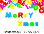 merry xmas with alphabet toy | Shutterstock . vector #127276571
