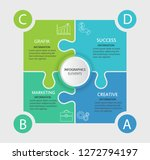four puzzel elements with paper ... | Shutterstock .eps vector #1272794197