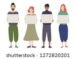 group of young people holding... | Shutterstock .eps vector #1272820201