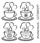 set cups with a hot drink and... | Shutterstock . vector #127284197