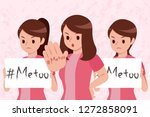 me too on women hand and hold... | Shutterstock .eps vector #1272858091