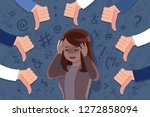 scared and upset woman be... | Shutterstock .eps vector #1272858094