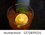 lemon and spearmint in ice tea...   Shutterstock . vector #1272859231