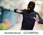 burglar in face mask isolated ... | Shutterstock . vector #127289561