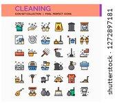 cleaning icons set. ui pixel...