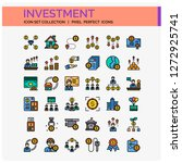 investment icons set. ui pixel...
