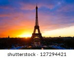 The Eiffel Tower At Sunset ...