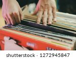 person pick vinyl record crate... | Shutterstock . vector #1272945847