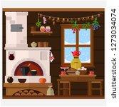 interior of russian village... | Shutterstock .eps vector #1273034074