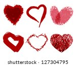 set of hearts painted with... | Shutterstock . vector #127304795