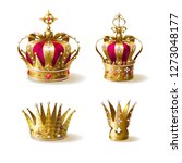 royal golden crowns decorated... | Shutterstock .eps vector #1273048177