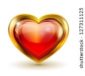 red glass heart in gold.... | Shutterstock . vector #127311125