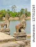 Small photo of Srah Srang baray, guardian lions, Angkor, Cambodia