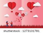 valentine's day concept  paper... | Shutterstock .eps vector #1273131781