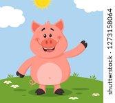 cute pig cartoon character... | Shutterstock . vector #1273158064