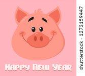 cute pig cartoon character face ... | Shutterstock . vector #1273159447