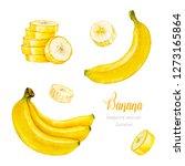 banana. banana slice. bunch of... | Shutterstock . vector #1273165864