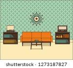 living room in flat design.... | Shutterstock . vector #1273187827