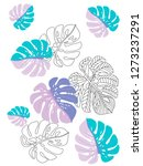 vector tropical pattern with... | Shutterstock .eps vector #1273237291