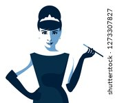 cartoon audrey hepburn.... | Shutterstock .eps vector #1273307827