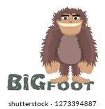 Stock vector vector funny cartoon sasquatch yeti bigfoot standing friendly smile caveman standing and smiling 1273394887