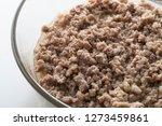 boiled minced pork in glass bowl | Shutterstock . vector #1273459861