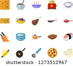 color flat icon set frying pan... | Shutterstock .eps vector #1273512967