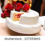 Wedding Cake Decorated With Re...