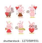 cute cartoon lovely rabbit with ...   Shutterstock .eps vector #1273589551