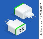 isometric usb electric power... | Shutterstock .eps vector #1273609387
