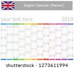 2019 english planner calendar... | Shutterstock .eps vector #1273611994