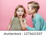stylish little boy whispering... | Shutterstock . vector #1273621537