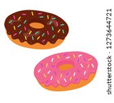 tasty vector donuts with pink... | Shutterstock .eps vector #1273644721