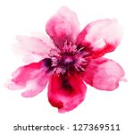 Stock photo beautiful pink flower watercolor painting 127369511