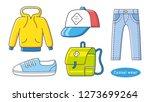 hoodie  baseball cap  sneaker... | Shutterstock .eps vector #1273699264
