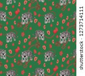 tiger and chain green red... | Shutterstock .eps vector #1273714111