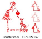 i love my pet. girl and dog... | Shutterstock .eps vector #1273722757