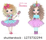 Stock vector two hand drawn beautiful cute little princess girls vector illustration 1273732294