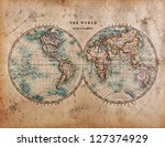 a genuine old stained world map ... | Shutterstock . vector #127374929