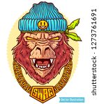 big gorilla rapper in hat.... | Shutterstock .eps vector #1273761691