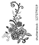 beautiful floral element. black ... | Shutterstock .eps vector #127379519