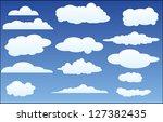 design set of clouds in the sky ... | Shutterstock . vector #127382435