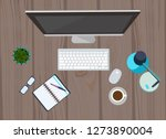 workplace organization.... | Shutterstock .eps vector #1273890004
