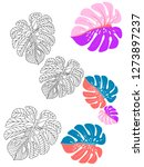 vector tropical pattern with... | Shutterstock .eps vector #1273897237