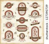 vintage apple labels set | Shutterstock . vector #127390739