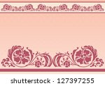 horizontal floral frame in pink ... | Shutterstock . vector #127397255