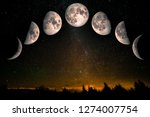 Small photo of Phases of the Moon: waxing crescent, first quarter, waxing gibbous, full moon, waning gibbous, third guarter, waning crescent. Forest landscape with stars. The elements of this image furnished by NASA