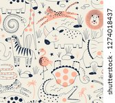 wild savannah animal pattern... | Shutterstock .eps vector #1274018437