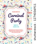 carnaval party invitation card... | Shutterstock .eps vector #1274036911