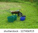 wheelbarrow and trugs with... | Shutterstock . vector #127406915